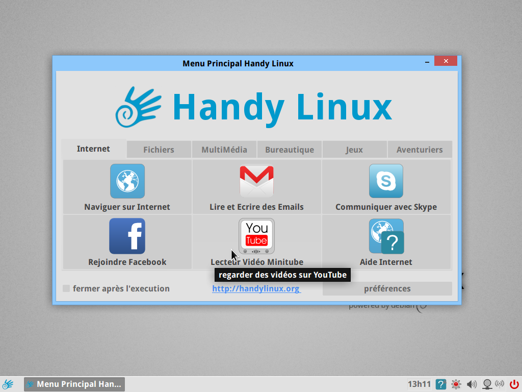 HandyLinux menu internet
